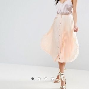 Blush peach ASOS pleated button up midi skirt